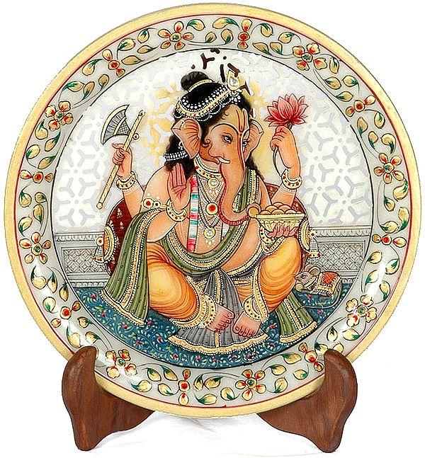 Lord Ganesha Enjoying Modak (With Lattice)