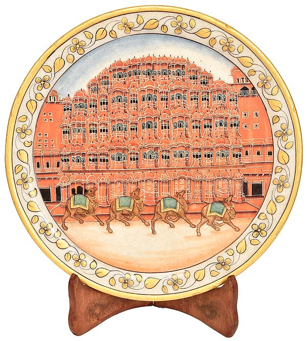 Camels Marching Along The Gorgeous Hawa Mahal