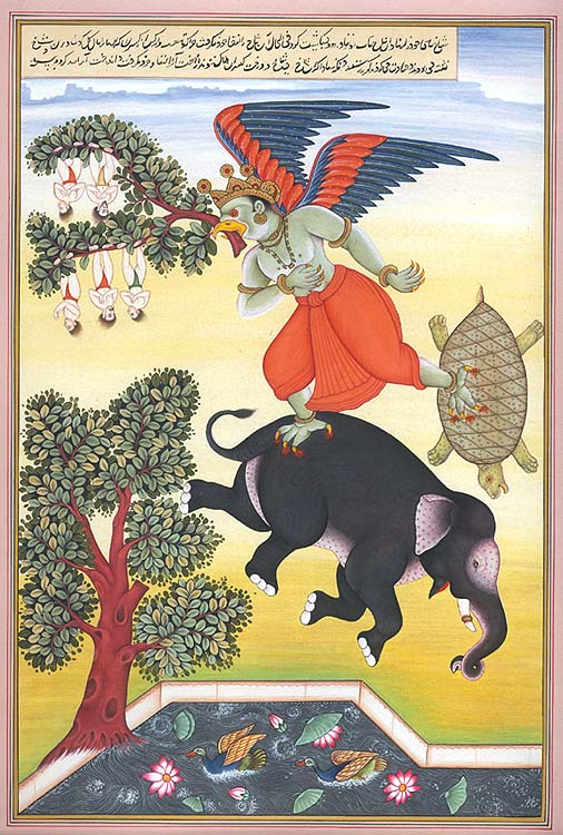 Garuda Flying with the Fighting Elephant and Tortoise