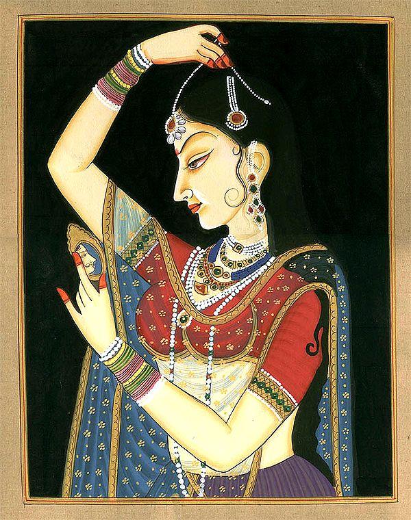 Lady Adorning Herself