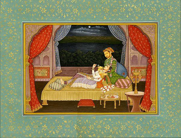 Mughal Emperor Shahjahan with His Sick Wife Mumtaj Mahal