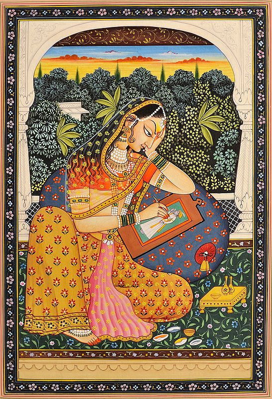 The Young Princess Absorbed in Portraying Her Lord