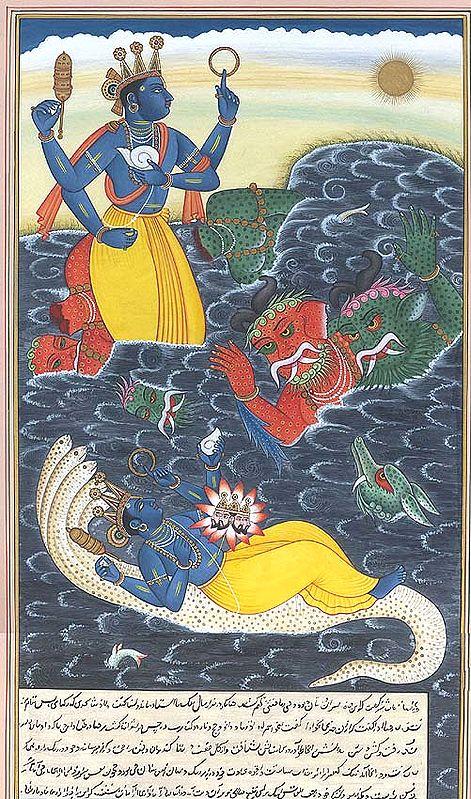 Vishnu Killing the Demons Madhu and Kaitabha