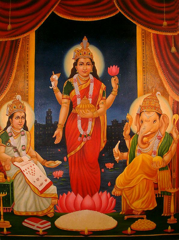 Goddess Lakshmi with Ganesha and Saraswati