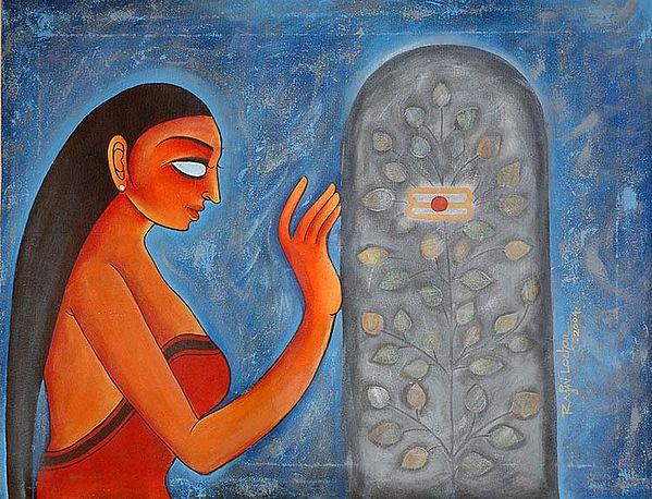 Lady Worshipping The Shiva Linga