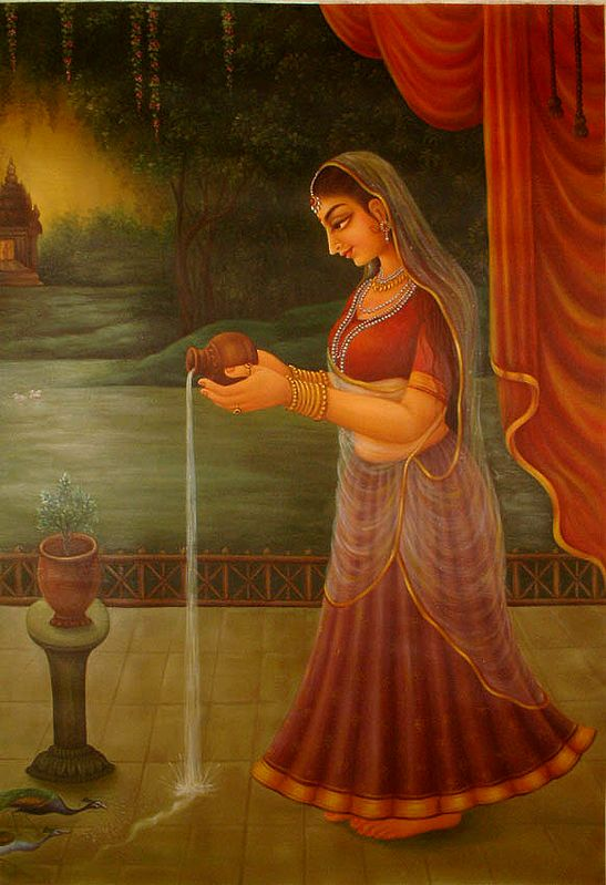 Offering Water to Tulsi