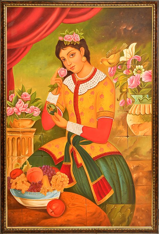Beauty with Flowers & Fruits (Framed)