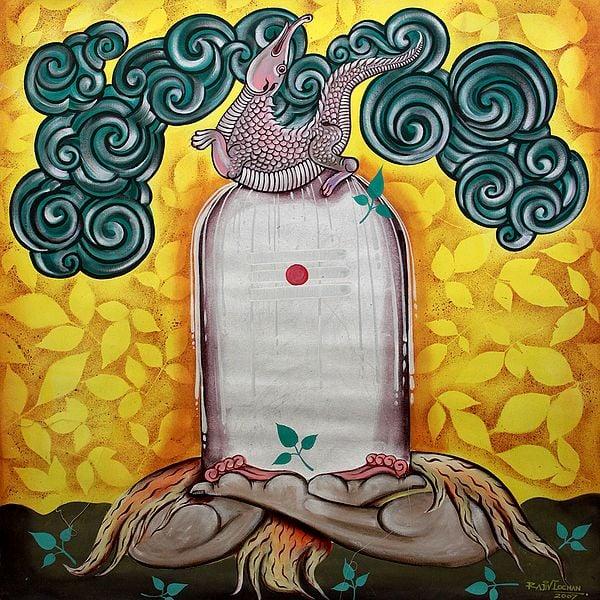 Shiva as Ling in Yogasana