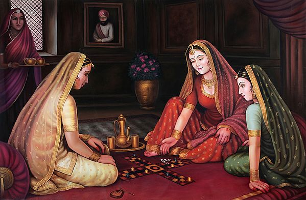 Two Royal Damsels Playing Chaupara