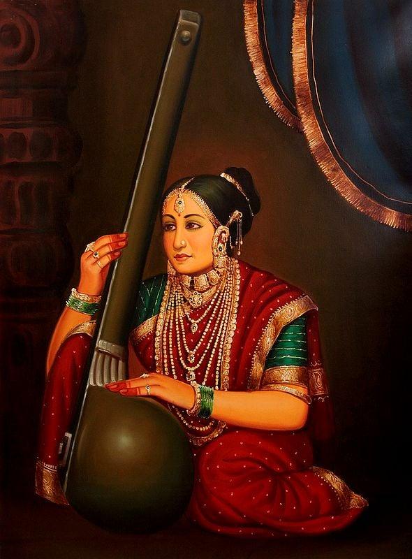 Rich Lady Playing a Tanapura