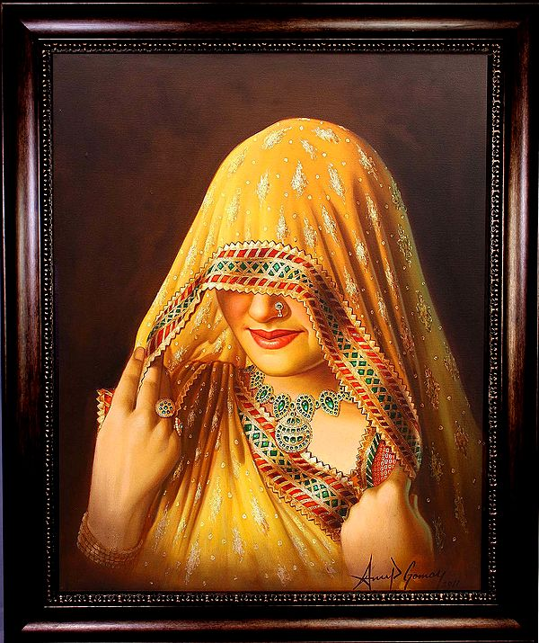 The Veiled Beauty (Framed Oil Painting)