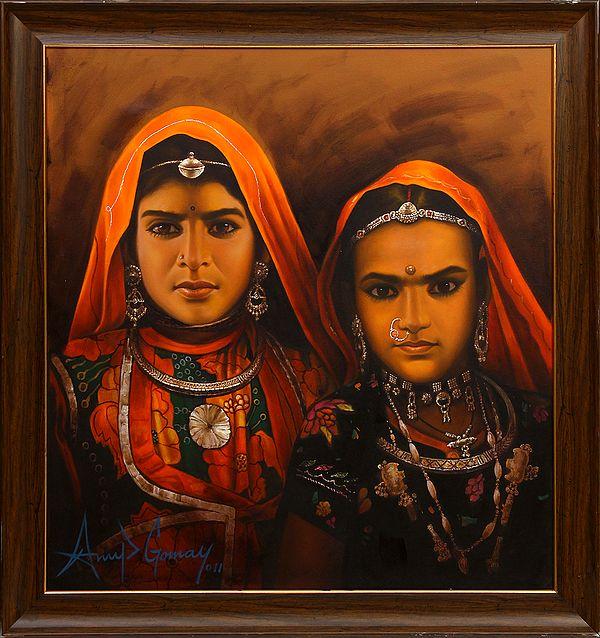 The Solemn Banjara Sisters (Framed)