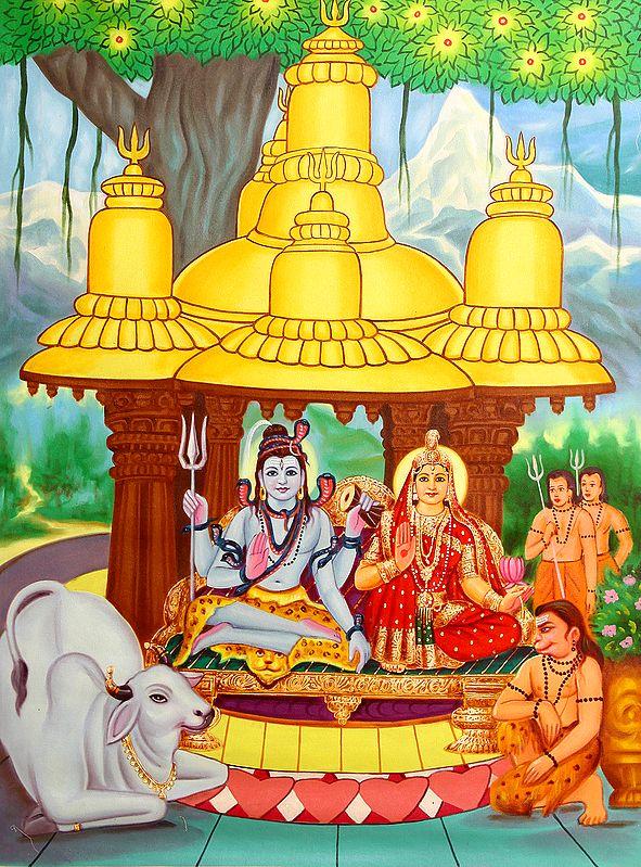 Shivaparivar Housed In A Temple Of Gold