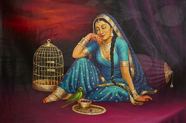 Lady Feeds Her Faithful Parrot