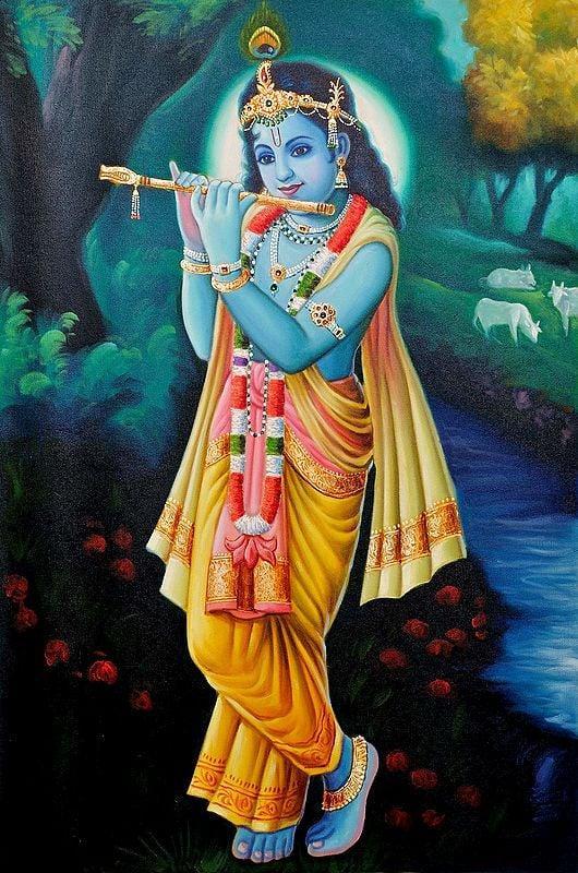 Shri Krishna Playing His Flute in the Grove of Vrindavan
