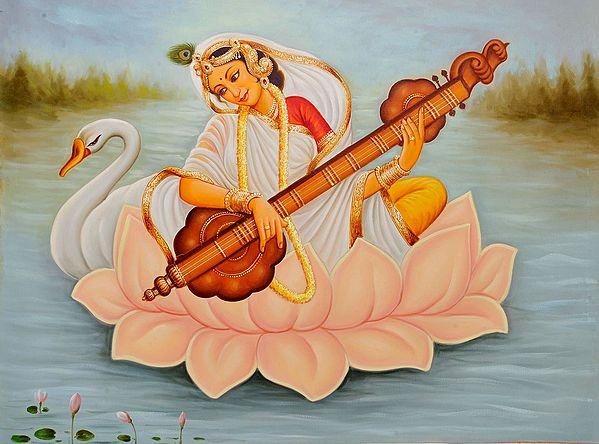 Goddess Saraswati Wearing Sari Seated on Lotus