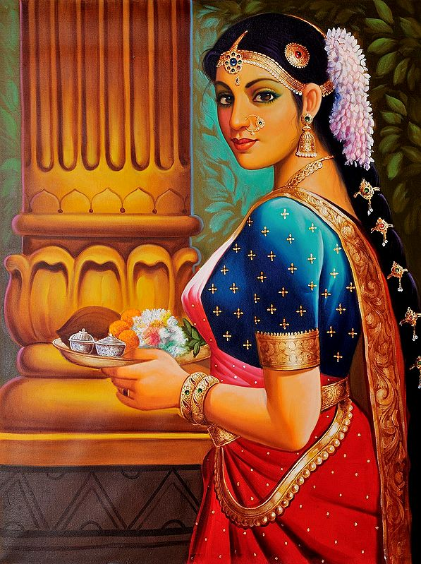 Large-Eyed Woman With Pooja Thali