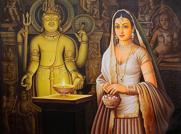 The Gorgeous Shivabhakta Lights The Lamp Of Worship