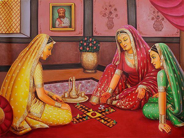 Royal Damsels Playing Chaupara