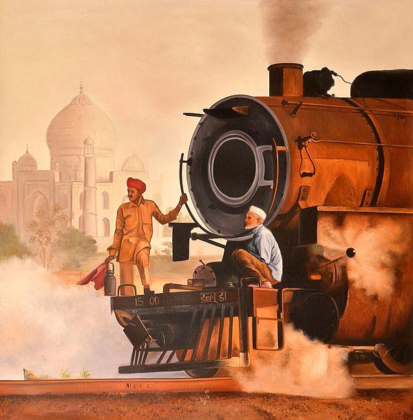 Steam Engine Against Taj Mahal