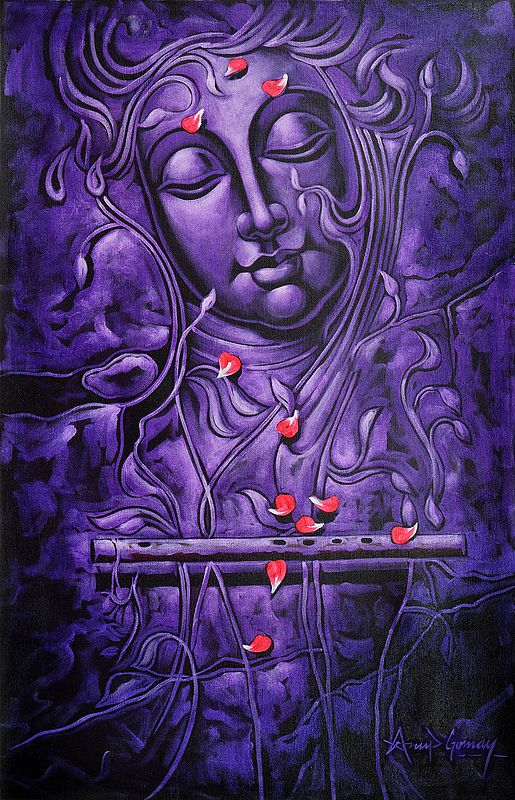 A Purple Krishna Worshipped with Rose Petals