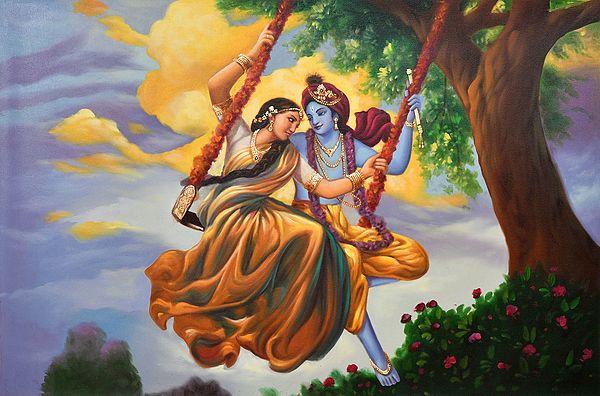 Radha Krishna Swinging in the Raining Season