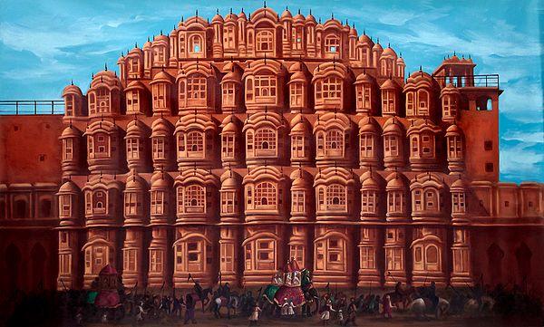 Regal Procession Afore The Hawa Mahal