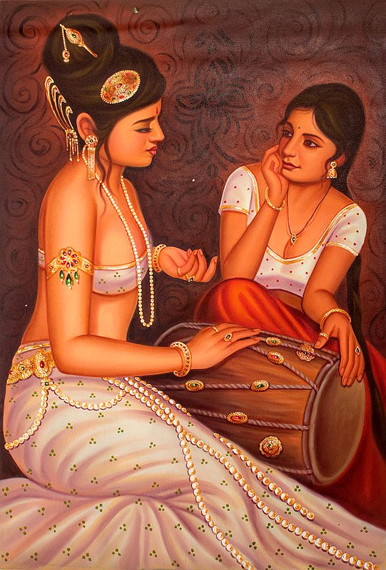 Two Nubile Friends Dallying With The Dholak