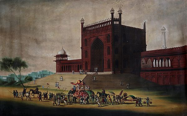 Regal Procession Afore The  Lal Qila (Old Painting)