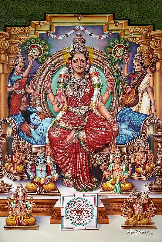 Saguna Adi Parashakti Devi Rajarajeshwari | Oil Painting | Handmade | Made In India