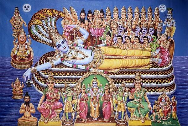 Sheshashayi Vishnu Worshipped by Gods