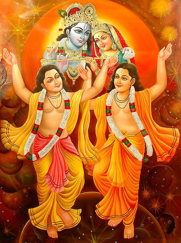 Radha Krishna Bless Chaitanya and Nityananda Mahaprabhu
