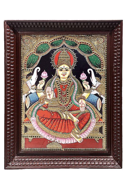 "22"" x 28"" Padmasana Gajalakshmi Tanjore Painting | Traditional Colors With 24K Gold | Teakwood Frame | Gold & Wood | Handmade | Made In India"