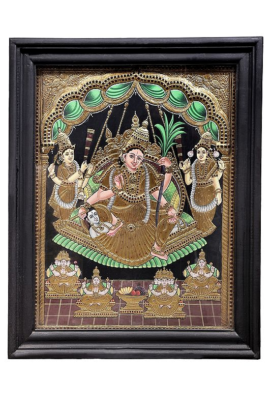 """28"""" x 34"""" Goddess Rajarajeshwari Tanjore Painting 