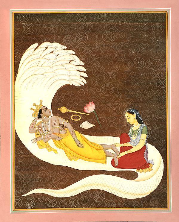 Devi Lakshmi In The Service Of Lord Vishnu