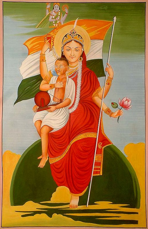 Mother India Wearing a Sari and Mahatma Gandhi in Her Lap