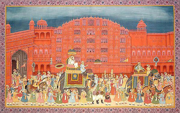 Procession at Hawa Mahal of Jaipur