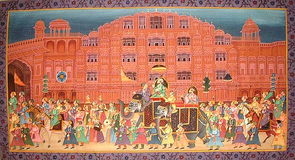 Procession at the Hawa Mahal of Jaipur