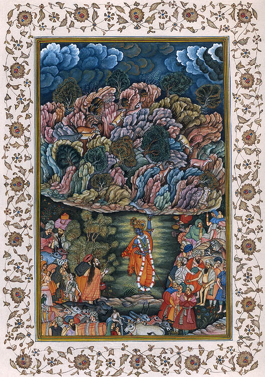 Lord Krishna Lifting the Mountain Govardhana