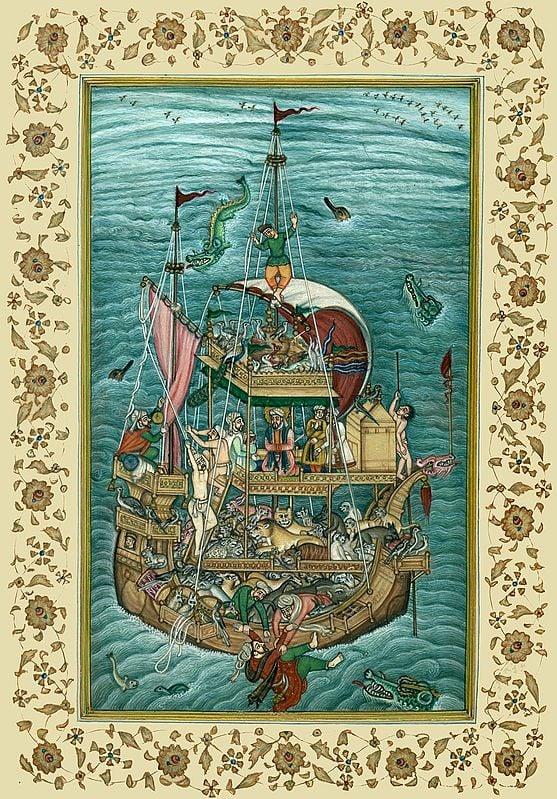 Noah's Ark, from the Akbarnama, attributed to Miskin