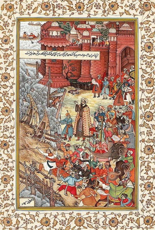 Akbar Restrains Hawaai, and Enraged Elephant, and Spectators