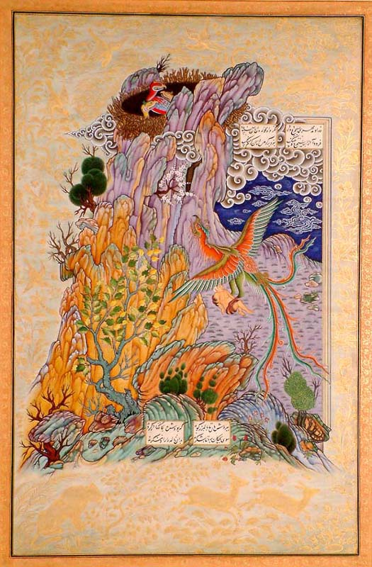 The Bird Simurgh Takes the White-Haired Zal to Her Nest in the Mountains (From the Shahnama)