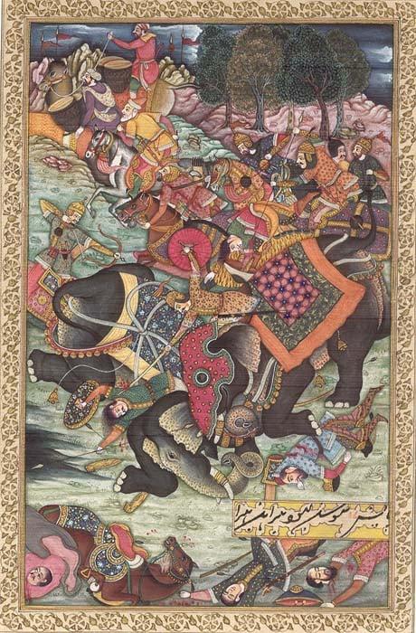 War Elephants Collide in Battle (Illustration to the Akbarnama)