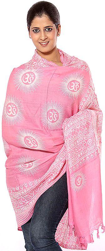 Pink Om Prayer Shawl