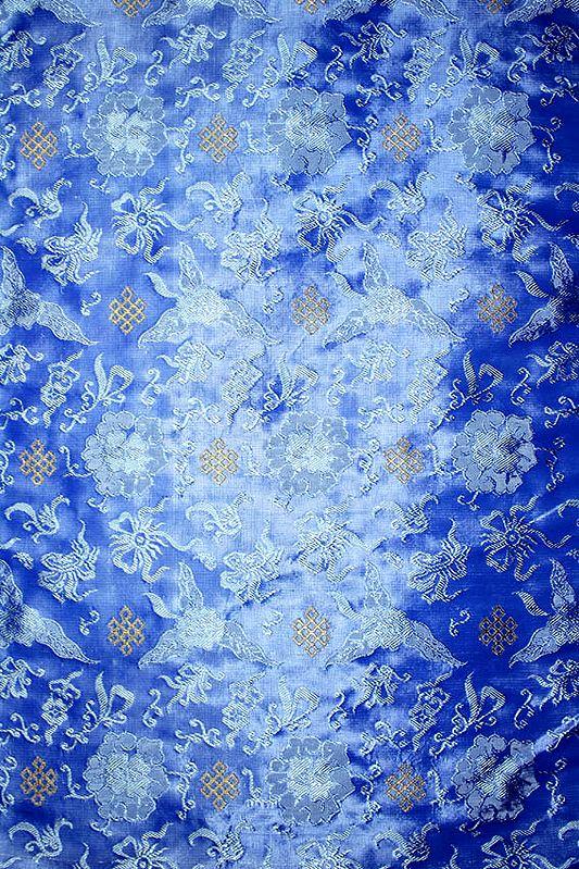 Azure-Blue Brocade with Tibetan Endless Knot