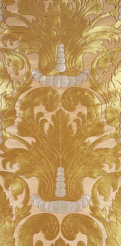 Beige Banarsi Fabric with Golden Zari Weave All-Over