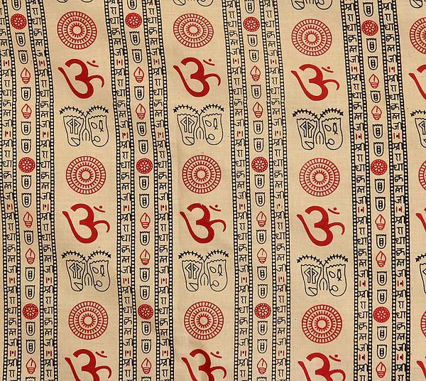 Beige Khadi Fabric with Printed Om