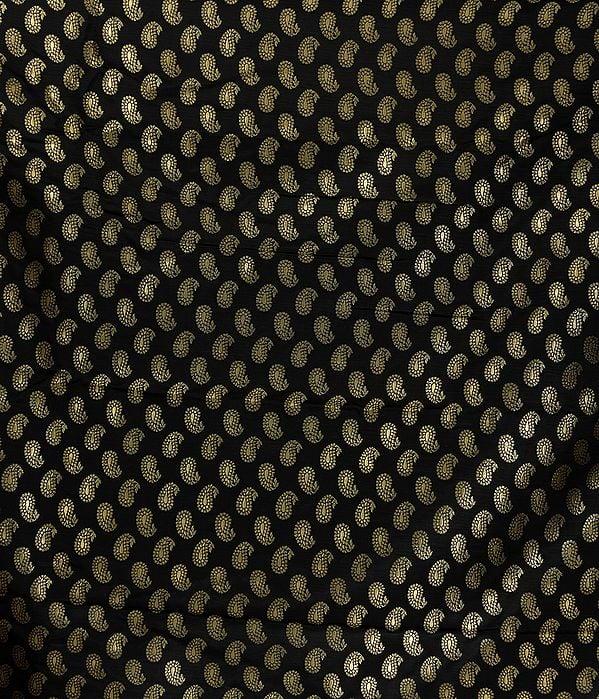 Black Banarasi Brocade Fabric with Woven Paisleys