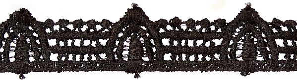 Black Chikan Lace Border from Lucknow