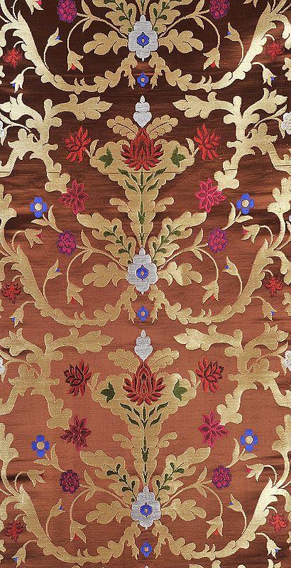 Brown Brocade Fabric with Woven tibetan Lotus in Zari Thread